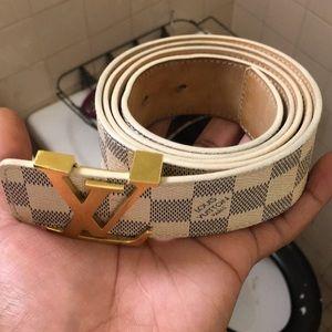 White Louis Vuitton belt
